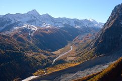 Val Veny autumn view from Mont Blanc, Valle di Aosta, Italy Royalty Free Stock Photography