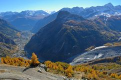 Val Veny autumn view from Mont Blanc, Valle di Aosta, Italy Royalty Free Stock Photo