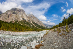 Val Veny, Italy - The Mountains and The River II Royalty Free Stock Photos