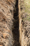 Vala estreita profunda na terra Fotografia de Stock