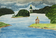 Valaam海岛,水彩 库存照片