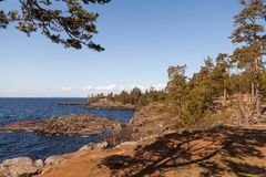 Valaam is a cozy and quiet piece of land. Valaam is the largest of the Islands, so often these two concepts are not distinguished. Pilgrims come here to touch Royalty Free Stock Images