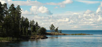 Valaam Island, Ladoga. Wooded cliffs on the shore Royalty Free Stock Image