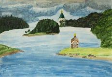 Valaam wyspa, watercolours Zdjęcie Stock