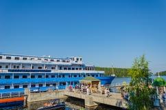 Valaameiland, Rusland - 07 17 2018: Het motorschip stock foto