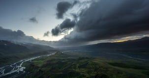 Valahnukur, Thorsmork. Stormy weather on Valahnukur, Iceland stock footage