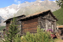 Valais wooden hut. The typical dwelling in Valais valley in Switzerland - wooden hut standing on the pillars royalty free stock photo