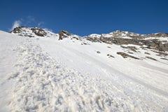 Valanghe della primavera nelle alpi Immagine Stock