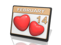Valantine's Day Febuary 14. A Calendar showing Febuary 14 and two hearts Vector Illustration
