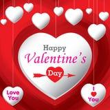Valantines dag och min hjärta på röd bakgrund Arkivbild