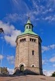 Valberg väktare står högt (1853) i Stavanger, Norge Arkivbild