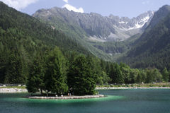 Valbione. Landscape, overlooking the lake with the mountains behind Royalty Free Stock Photos