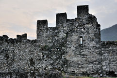 Valcamonica Breno castle walls and window Royalty Free Stock Images