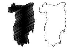 Valcea klottrar ståndsmässiga administrativa uppdelningar av Rumänien, illustration för vektor för översikt för region för Sud-vä vektor illustrationer