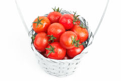 Valda tomater som isoleras på vit bakgrund royaltyfria bilder