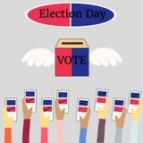 Valdagröstning i form-, politik- och valillustration royaltyfri fotografi