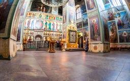 Valday Iversky Monas的假定大教堂的内部 库存图片
