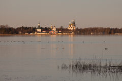The Valdayskoe Lake with Valday Iversky Monastery Stock Photos