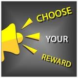 Valde din belöning med megafonen Plan vektorillustration på grå bakgrund royaltyfri illustrationer