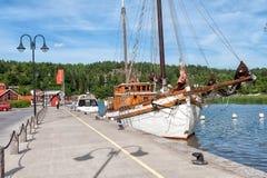Valdemarsvik, Sweden. July 22, 2009: The harbor in Valdemarsvik during summertime. Valdemarsvik is a small historic town on the Baltic sea coast in county Ö Stock Images