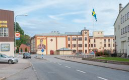 Valdemarsvik, Sweden. July 22, 2009: The main road through Valdemarsvik during summertime. Valdemarsvik is a small historic town on the Baltic sea coast in royalty free stock images