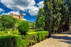 Valdemossa monastery historic building and vivid green garden. Mallorca, Spain Stock Photos