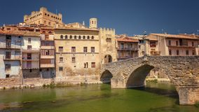Valderrobres village of the 12th century, with its medival bridg Royalty Free Stock Photos