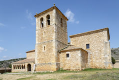 Valderrodilla Church. San Miguel Arcangel Church in the Andaluz province of Soria, Spain Stock Photo