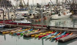 valdez的小工艺小游艇船坞 库存图片