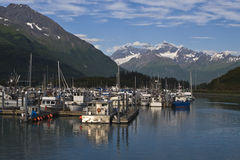 Valdez, Alaska Harbor. A view from the water of the harbor at Valdez, Alaska Stock Photography