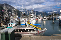 Valdez Small Boat Harbor. Fishing Vessels with gear Stock Images