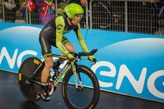 Valdobbiadene, Itália 23 de maio de 2015; Ciclista profissional durante uma fase da excursão de Itália 2015 Imagens de Stock Royalty Free