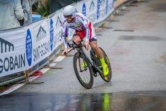 Valdobbiadene Italien Maj 23, 2015; Yrkesmässig cyklist under en etapp av turnera av Italien 2015 royaltyfria foton