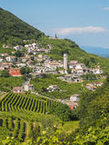 Valdobbiadene town and Prosecco vineyards in Veneto. Small town of Valdobbiadene, surrounded by vineyards, zone of production of traditional italian white stock photography