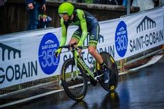 Valdobbiadene, Włochy Maj 23, 2015; Fachowy cyklista podczas sceny wycieczka turysyczna Włochy 2015 Fotografia Royalty Free