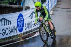 Valdobbiadene, Włochy Maj 23, 2015; Fachowy cyklista podczas sceny wycieczka turysyczna Włochy 2015 Obrazy Royalty Free