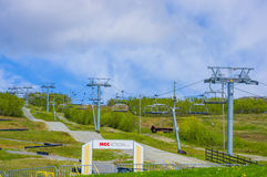 VALDRES, NORWAY - 6 JULY, 2015: Skilifts during Stock Photo