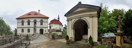 Valdsteinkasteel in Tsjechisch Paradijs in Tsjechische republiek stock foto's