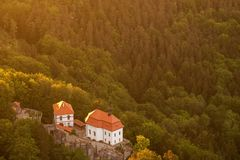 Valdstejn Castle in the Bohemian Paradise from above. Valdstejn Castle in the Bohemian Paradise on the aerial photograph royalty free stock photography
