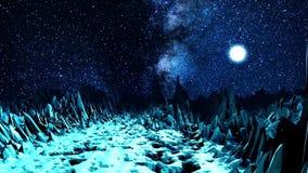Vale abstrato na luz de néon animation Espaço do computador com o vale dos pedregulhos afiados iluminados pela luz brilhante de video estoque