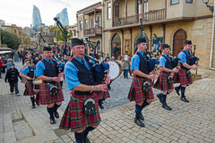 The Vale of Atholl Pipeband in Baku Royalty Free Stock Images