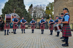 The Vale of Atholl Pipeband in Baku Royalty Free Stock Photo