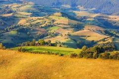 Vale bonito na Transilvânia com pastos e campos Fotos de Stock