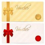 Vale, chèque-cadeaux, plantilla de la cupón. Arco Imágenes de archivo libres de regalías
