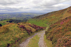 The Vale of Clwyd and Offas Dyke Flint Wales. The Vale of Clwyd and Offa's Dyke taken from Moel Arthur, Flintshire, North Wales Royalty Free Stock Images