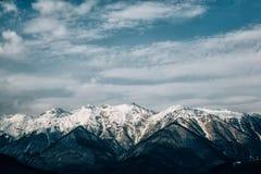Vale da geleira da montagem e picos dos cumes Foto de Stock Royalty Free