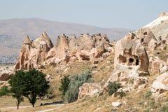 Vale das chaminés feericamente em Cappadocia, Turquia foto de stock