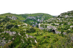Vale de Anapo e reserva de Pantalica em Sicília Foto de Stock