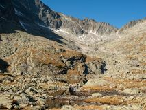 Vale de cinco lagos Spis Montanhas elevadas de Tatra, Slovakia fotos de stock royalty free