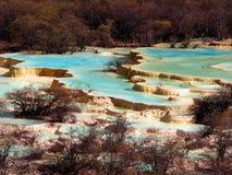 Vale de Huanglong, parque nacional de Jiuzhaigou, Sichuan, China imagem de stock